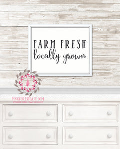Farm Fresh Locally Grown Farmhouse Farm Printable Wall Art Print Baby Nursery Home Decor
