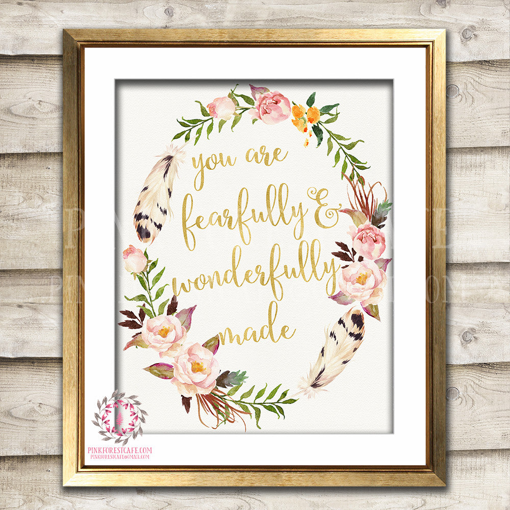 Boho You Are Fearfully And Wonderfully Made Watercolor Printable Wall Art Baby Girl Nursery Print Decor