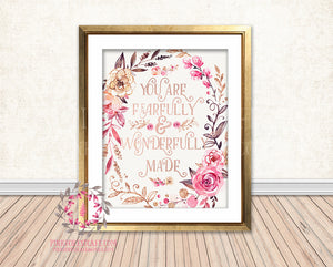 You Are Fearfully And Wonderfully Made Rose Gold Boho Nursery Baby Girl Room Printable Print Wall Decor