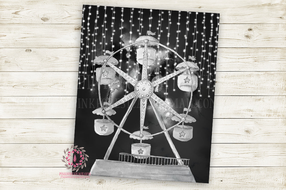 Ferris Wheel Monochrome Nursery Wall Art Print Ethereal Black White Printable Watercolor Mystery Fantasy Magical Carnival Decor