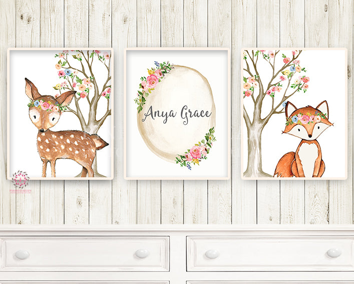 3 Boho Deer Fox Baby Name Wall Art Print Woodland Nursery Baby Girl Room Set Lot Watercolor Personalized Birth Stats Prints Decor