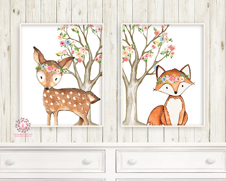 2 Deer Fox Printable Print Wall Art Woodland Boho Bohemian Floral Nursery Baby Girl Bedroom Set Lot Prints Decor