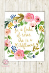In A Field Of Roses Wall Art Print She Is A Wildflower Baby Girl Nursery Printable Boho Watercolor Floral Room Decor