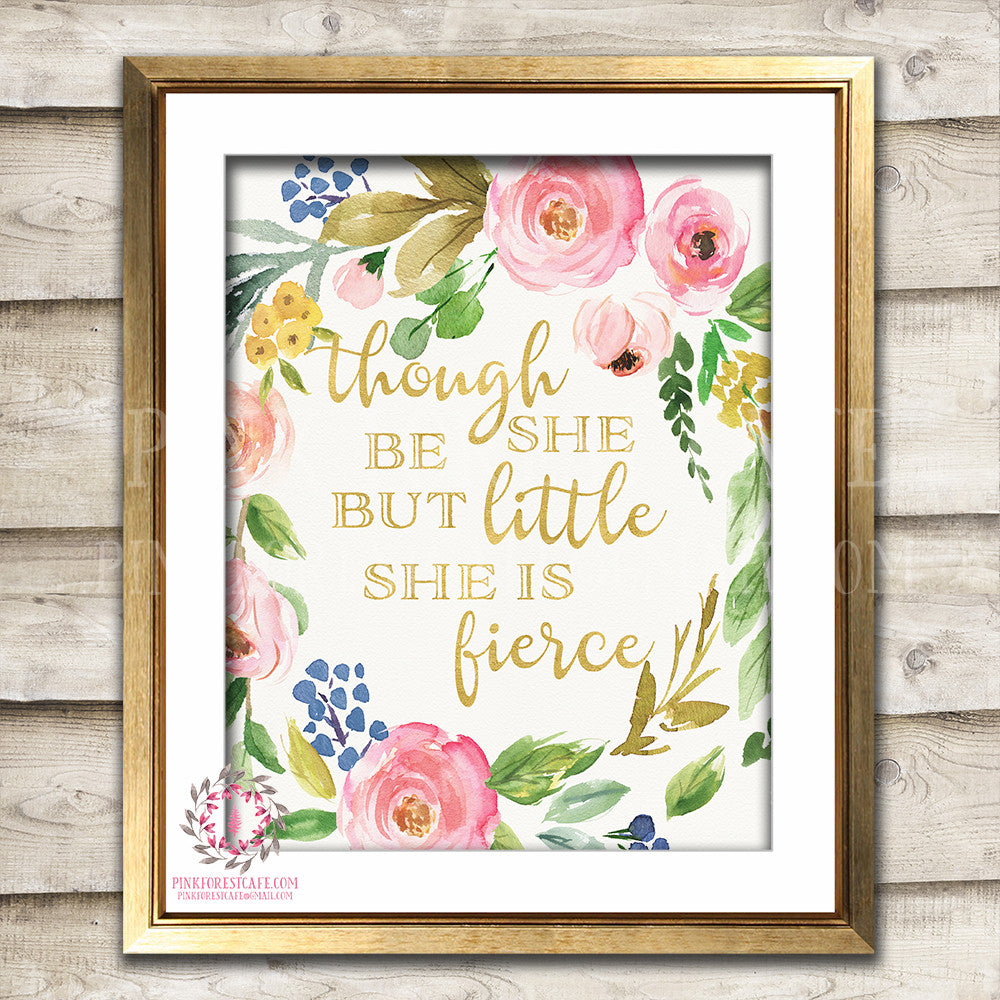 Boho She Is Fierce Wall Art Print Baby Girl Nursery Gold Bohemian Printable Decor