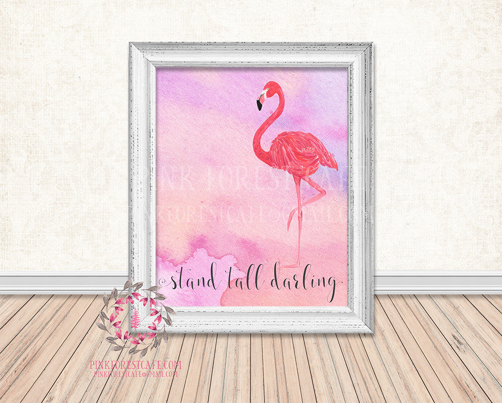 Watercolor Pink Flamingo Stand Tall Darling Boho Printable Print Wall Art Home Office Decor