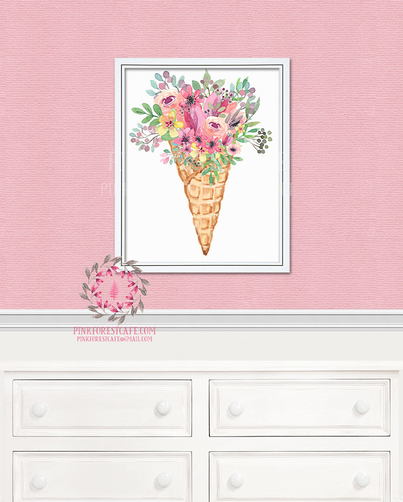 Boho Ice Cream Cone Watercolor Floral Nursery Home Decor Wall Art Printable Print