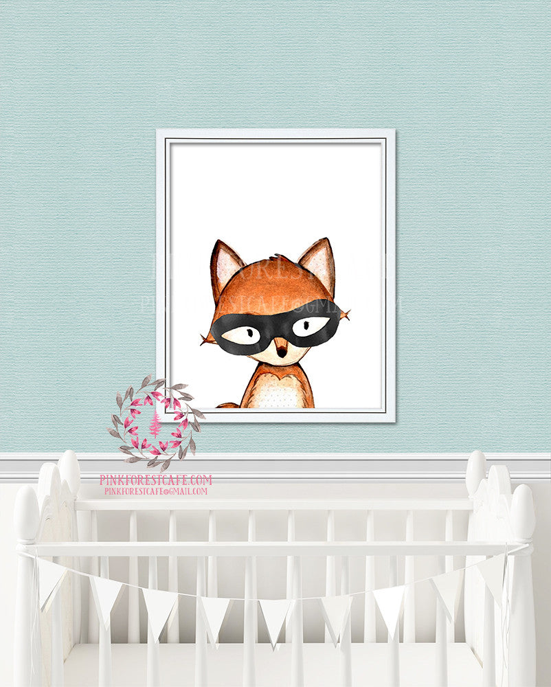 Masked Fox Bandit Mask Woodland Nursery Decor Watercolor Wall Art Printable Print