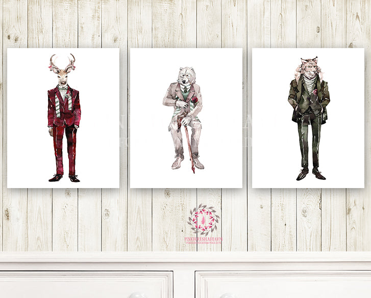 Deer Fox Bear Woodland Animal Nursery Wall Art Print Baby Ethereal Kids Room Watercolor Suits Printable Decor