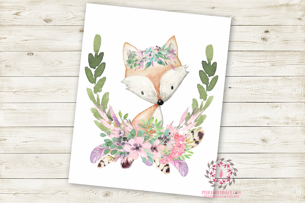 Fox Woodland Boho Wall Art Print Purple Mint Feather Baby Girl Nursery Bohemian Floral Girl Room Printable Decor