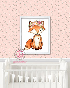Fox Floral Woodland Boho Nursery Decor Watercolor Wall Art Printable Print