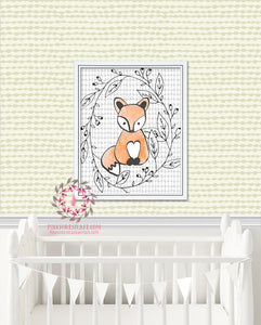 Fox Woodland Printable Print Wall Art Baby Kids Nursery Decor