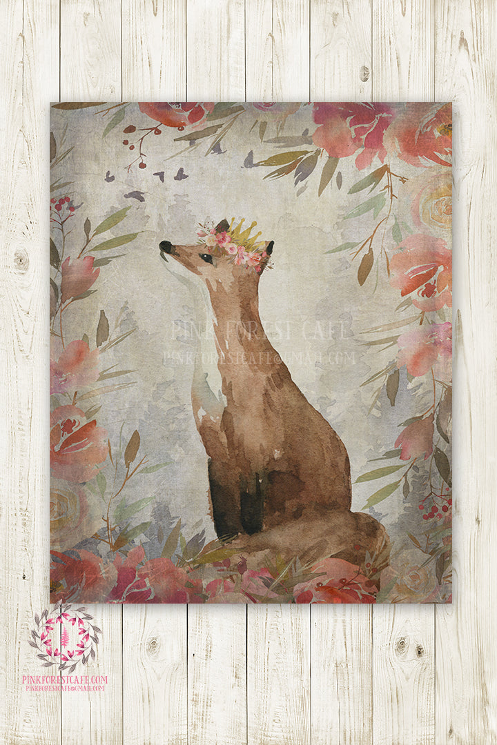 Fox Gold Crown Nursery Wall Art Print Baby Ethereal Rustic Watercolor Mystery Fantasy Magical Whimsical Printable Decor