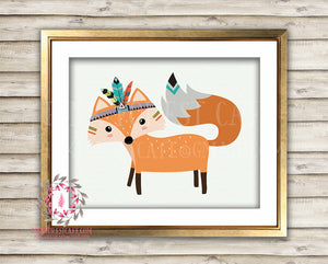 Fox Tribal Boho Woodland Printable Wall Art Nursery Decor Print