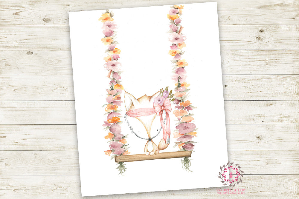 Boho Pink Fox On Swing Wall Art Print Woodland Bohemian Floral Nursery Baby Girl Room Arrow Printable Decor