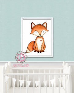 Fox Woodland Baby Nursery Decor Watercolor Wall Art Printable Print