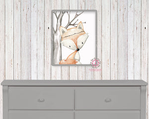 Fox Printable Print Wall Art Woodland Boho Bohemian Nursery Baby Girl Boy Bedroom Set Prints Decor