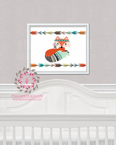 Tribal Fox Woodland Printable Wall Art Nursery Decor Kids Room Print