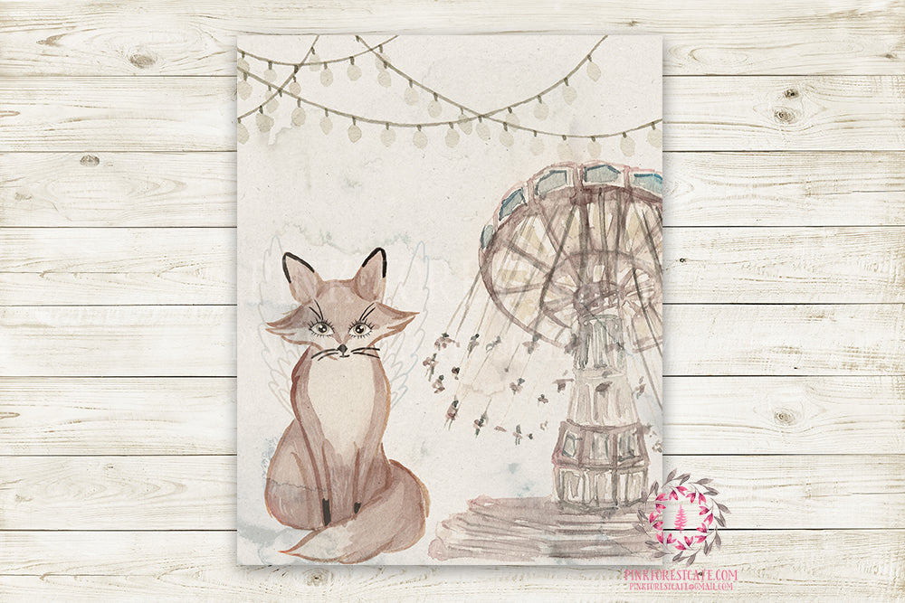 "Monochrome Fox Nursery Wall Art Print Ethereal Amusement Park Woodland Rustic Swing  ""Freddy Fox"" Boho Printable Watercolor Mystery Fantasy Magical Carnival Decor"