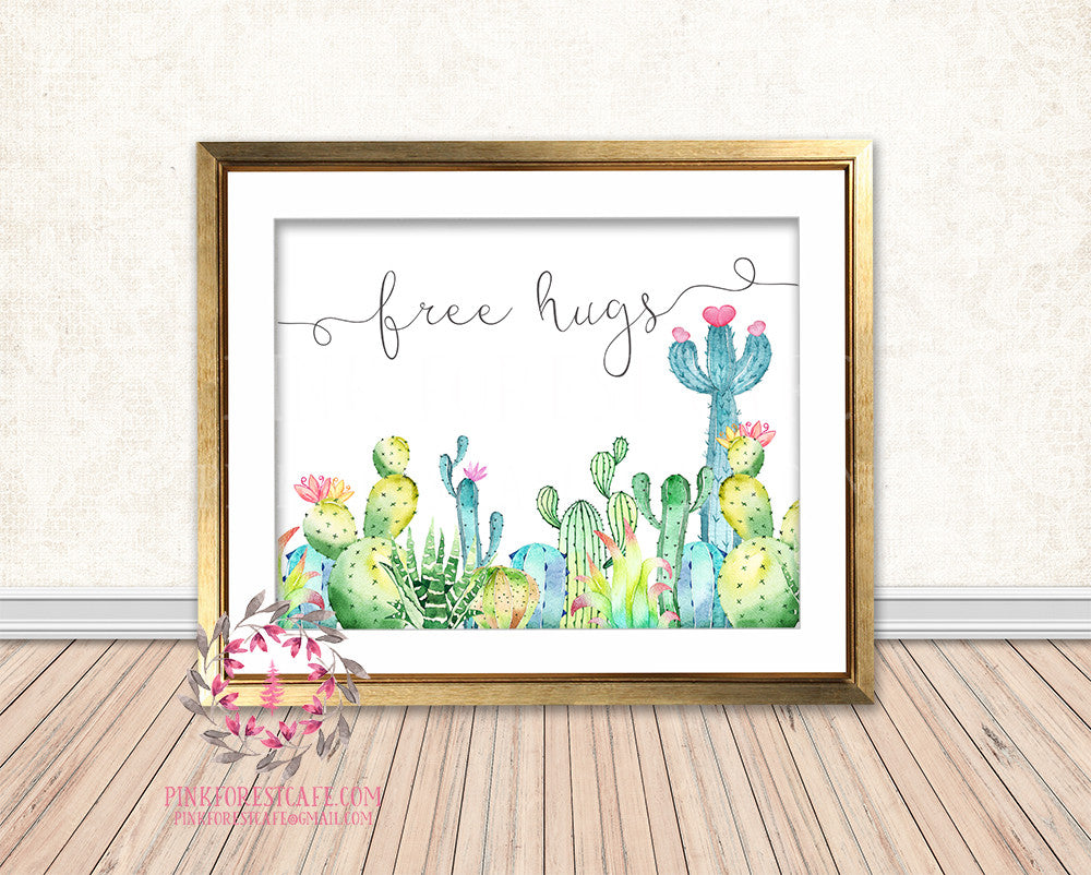 Free Hugs Cactus Succulent Boho Baby Nursery Home Decor Wall Art Printable Print