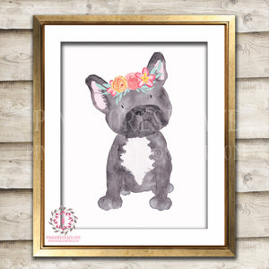 French Bulldog Frenchie Dog Boho Printable Print Wall Art Nursery Decor
