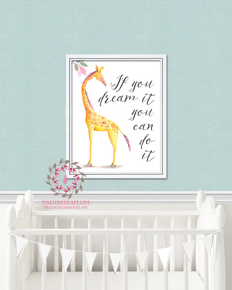 Giraffe Nursery Kids Room Print Printable Wall Poster Art Home Decor