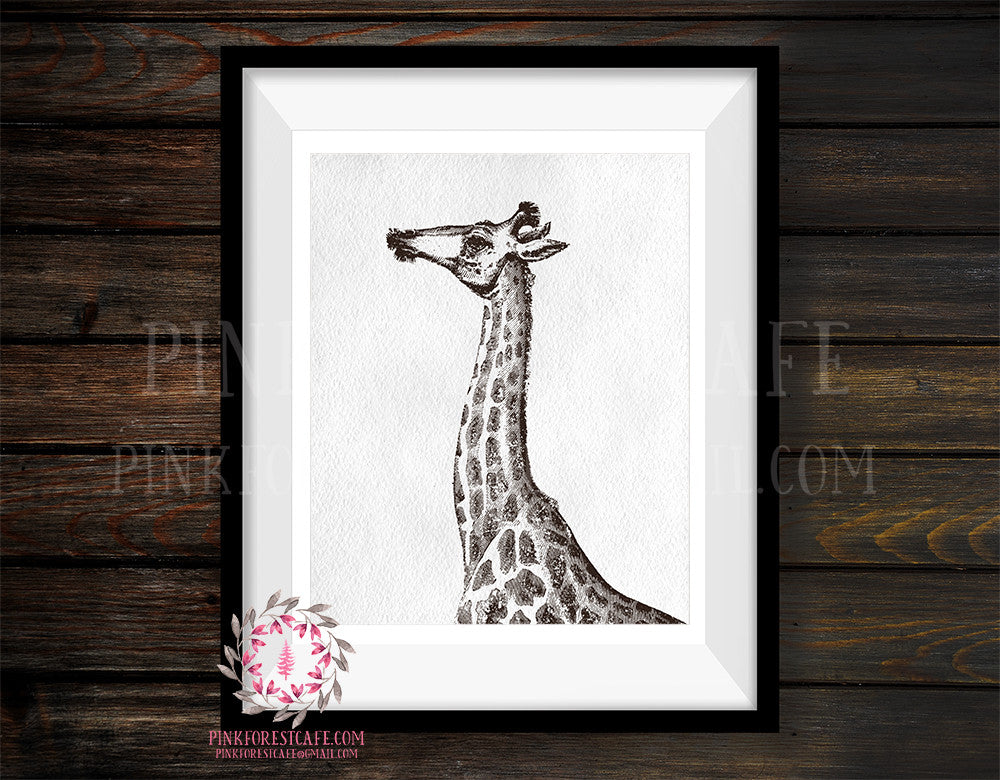 Giraffe Sketch ZOO Safari Nursery Kids Room Print Printable Wall Art Home Decor