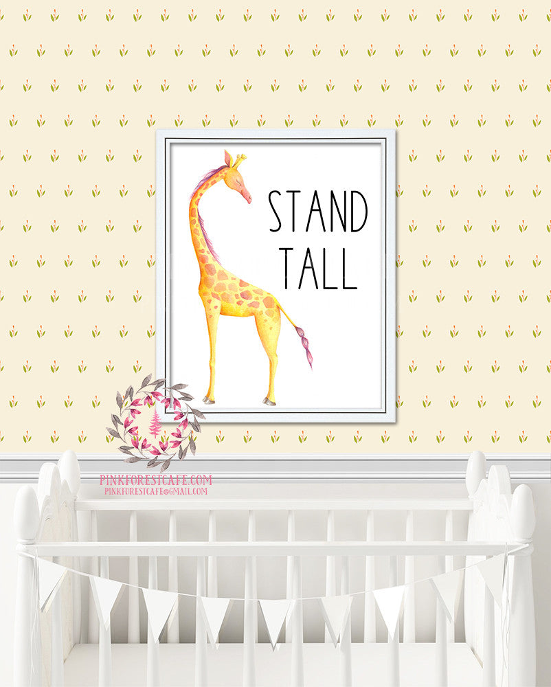 Giraffe Stand Tall Baby Nursery Kids Print Printable Wall Poster Art Home Decor