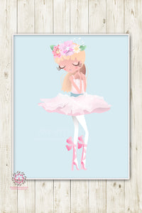 Ballerina Baby Girl Nursery Wall Art Print Ethereal Ballet Dancer Whimsical Bohemian Floral Minimalist Printable Decor