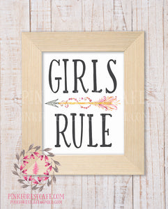 Girls Rule Boho Arrow Tribal Woodland Baby Girl Nursery Decor Wall Art Printable Print