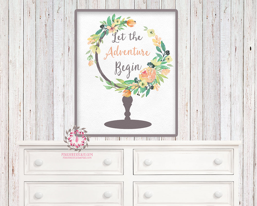Boho Globe Nursery Wall Art Print Decor Let The Adventure Begin Watercolor Flowers Floral Bohemian Baby Girl Room Kids Bedroom