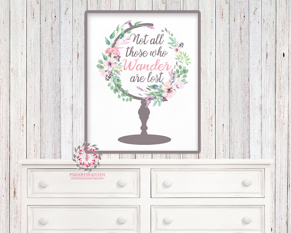 World Globe Printable Wall Art Print Nursery All Those Who Wander Are Not Lost Boho Home Bohemian Decor