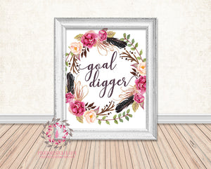Goal Digger Boho Watercolor Floral Tribal Feather Printable Print Wall Art Home Decor