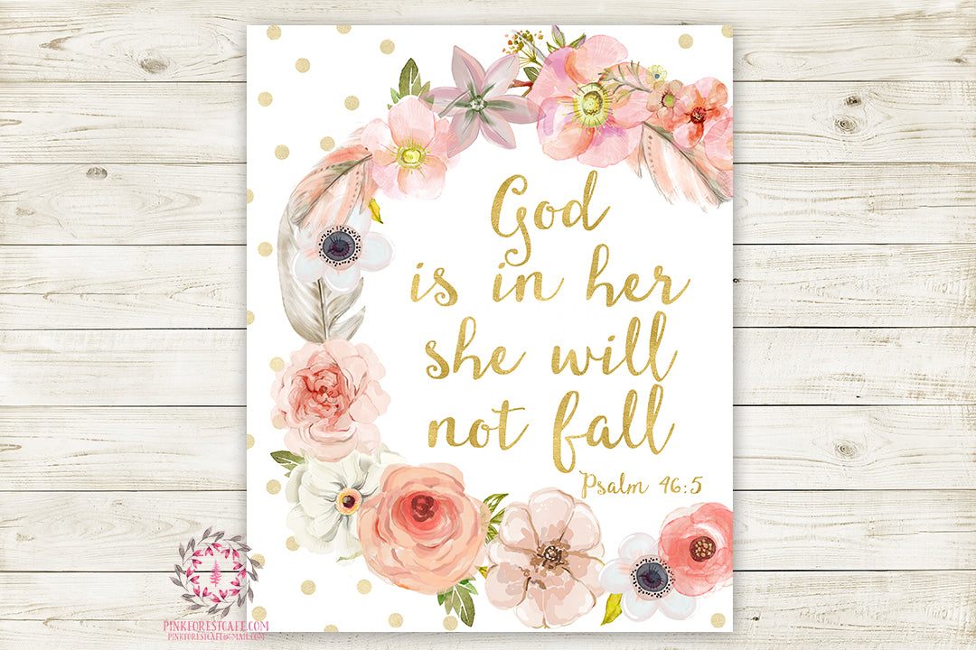 Boho God Is In Her She Will Not Fall Wall Art Print Baby Nursery Psalm 46:5 Bible Verse Home Printable Decor