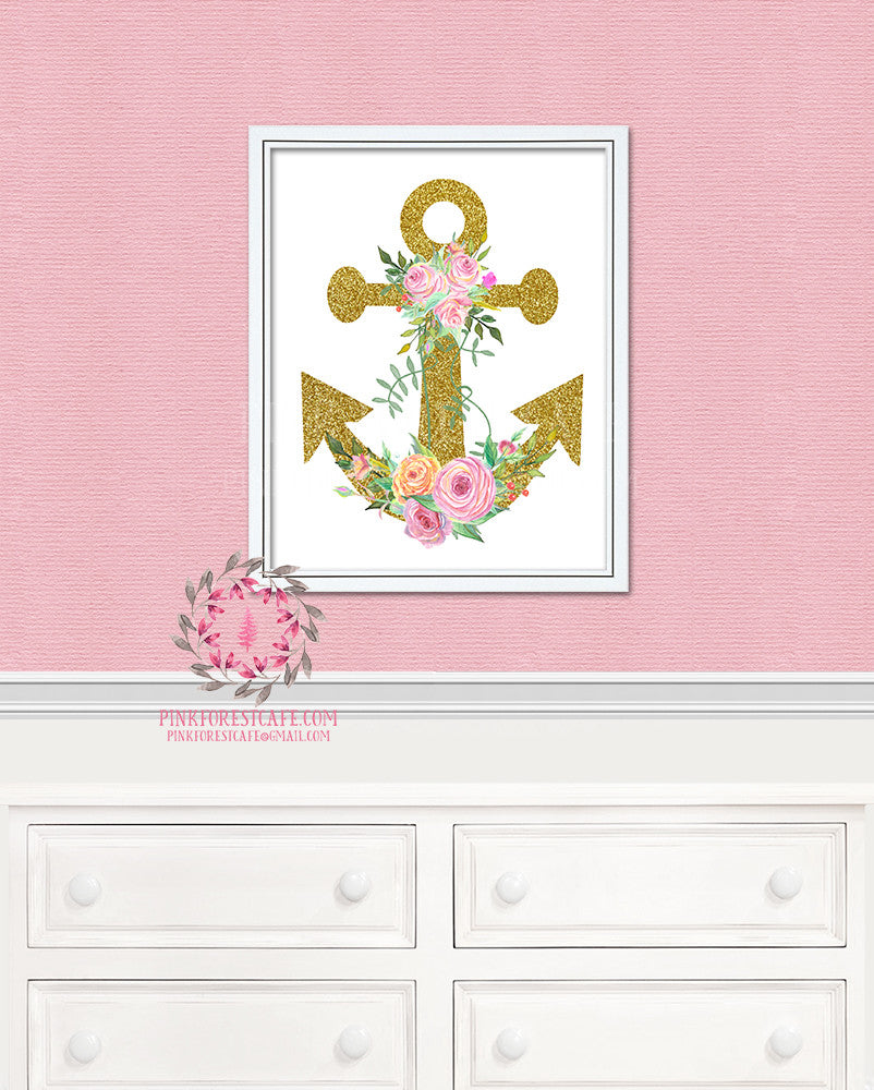 Gold Glitter Anchor Floral Nautical Printable Print Wall Art Home Nursery Home Decor