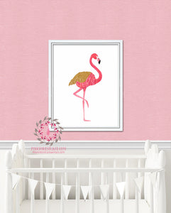 Boho Flamingo Wall Art Print Baby Girl Nursery Gold Printable Kids Home Office Decor