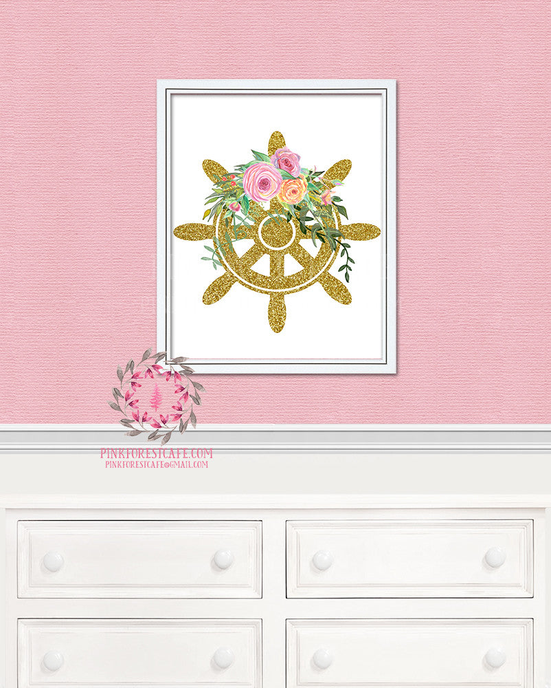 Gold Glitter Ship Wheel Floral Nautical Printable Print Wall Art Home Nursery Home Decor