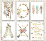 Boho Nursery Print Wall Art Set of 6 Teepee Dreamcatcher Feathers Arrow Baby Name Watercolor Gold Floral Girl Room Prints Printable Print Bohemian Decor