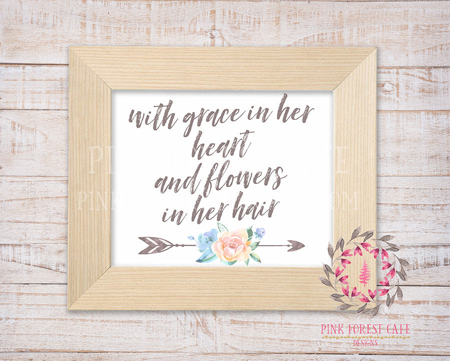 With Grace In Her Heart And Flowers In Her Hair Wall Art Print  Boho Chic Tribal Woodland Watercolor Arrow Floral Baby Girl Room Nursery Printable Home Decor