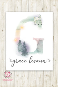 Unicorn Ethereal Boho Shabby Chic Baby Name Wall Art Print Letter G Nursery Personalized Watercolor Floral Printable Decor