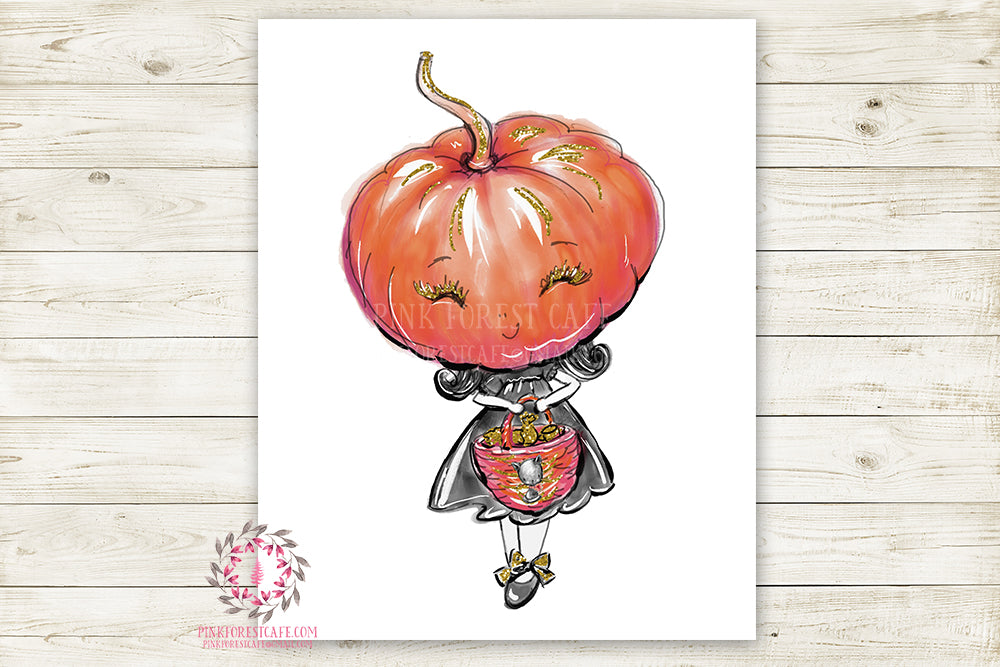 Pumpkin Witch Halloween Girl Black Cat Party Wall Art Print Printable Watercolor Decor