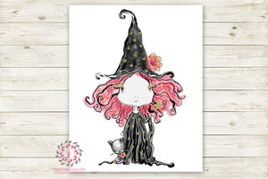 Witch Halloween Girl Black Cat Party Wall Art Print Printable Watercolor Decor