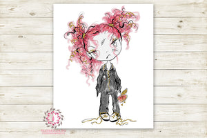 Zombie Halloween Girl Party Wall Art Print Walking Dead Printable Watercolor Decor