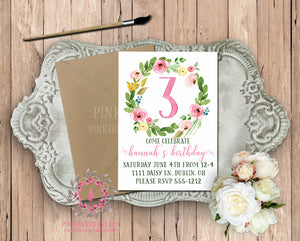 Baby Girl 1st 2nd 3rd 4th 5th Boho Garden Floral Birthday Party Printable Invite Invitation Announcement