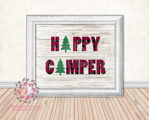 Happy Camper Wall Art Print Buffalo Check Plaid Pine Tree Rustic Woodland Printable Nursery Home Decor