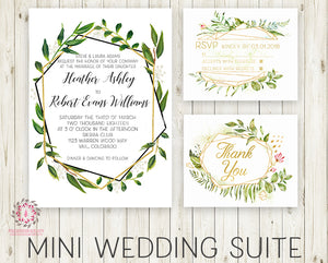 Wedding Suite Greenery Geometric Wedding Invite Invitation RSVP Thank You Cards Gold Green Leaves 2 Sided Watercolor Bridal Shower Printable