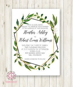 ad73046ac8c30 Wedding Greenery Geometric Wedding Invite Invitation Gold Green Leaves  Watercolor Bridal Shower Save The Date Announcement Printable