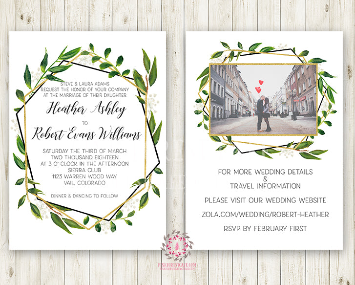 Wedding Suite Greenery Geometric Wedding Invite Invitation RSVP Reception  Signs Thank You Cards Table Numbers Gold Green Leaves 2 Sided Watercolor