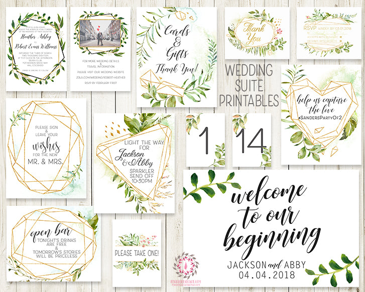 Wedding Suite Greenery Geometric Wedding Invite Invitation RSVP Reception Signs Thank You Cards Table Numbers Gold Green Leaves 2 Sided Watercolor Bridal Printable