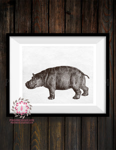 Hippo Sketch ZOO Safari Nursery Kids Room Print Printable Wall Art Home Decor