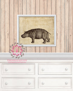 Hippo African Safari Baby Nursery Kids Room Printable Print Wall Art Home Decor